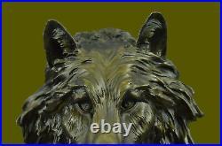 Hand Made Sculpture Bronze Statue Animal Extra Large Bugatti Howling Wolf Decor