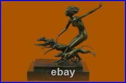 Hand Made Sculpture Bronze Statue Roman Greek Mythology Diana Huntress Figure