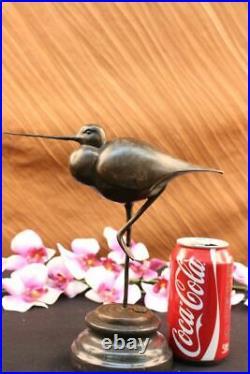 Hand Made Snowy Egret Silver Heron Wetlands Coastal Bird Bronze Marble Statue