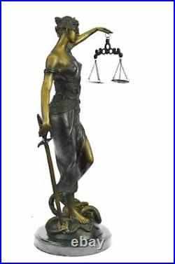 Hand Made Statue Blind Lady Of Justice Scales Law Lawyer Bronze Sculpture Sale
