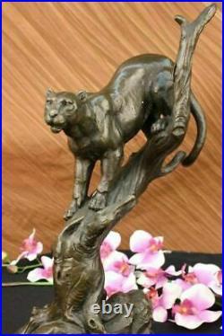 Hand Made Statue Lion Cougar Bobcat Panther Lynx Puma Art Bronze Sculpture Deal