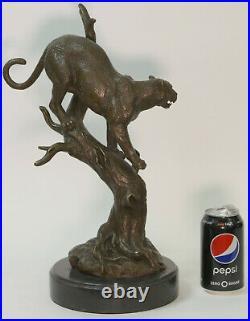 Hand Made Statue Lion Cougar Bobcat Panther Lynx Puma Art Bronze Sculpture Gift