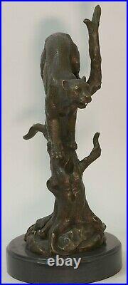 Hand Made Statue Lion Cougar Bobcat Panther Lynx Puma Art Bronze Sculpture decor