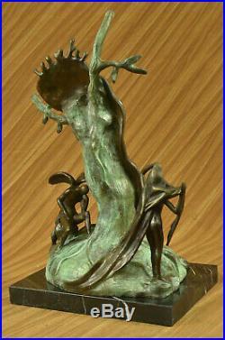 Hand Made Statue Salvador Dali Nobility Of Time Special Patina Bronze Sculpture