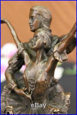 Hand Made Two Dancers Dancing Ballerina Real Bronze Sculpture Statue Art Figure