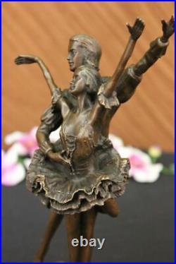 Hand Made Two Dancers Dancing Ballerina Real Bronze Sculpture Statue Art Nouveau
