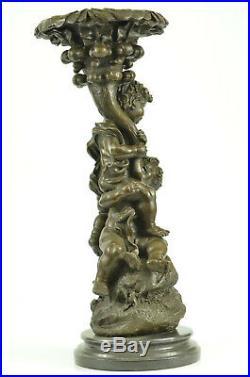 Hand Made Two Playful Puti /Cheru Statue Figurine Bronze Sculpture EX
