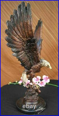 Hand Made Two Tone Moigniez Magnificent Large American Eagle Bronze Statue
