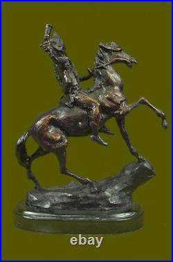 Hand Made Warrior Riding Solid Horse Bronze Statue Frederic Remington Gift