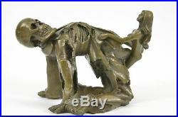 Hand Made Wine Skull Engulfed by a Nymph- Skeleton Wine Holder Bronze Statue Art