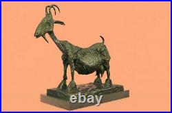 Handcrafted Bronze Sculpture Goat Mascot Signed Picasso European Made Statue NR
