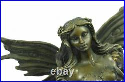Handcrafted Bronze Sculpture Hand Made Statue Fairy / Mythical Nude Fairy Gift