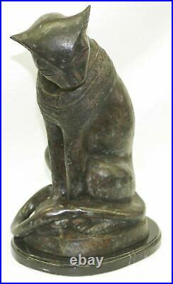 Heavy Egyptian Cat Bastet Bast Statue Genuine Bronze with Marble Made in Europe