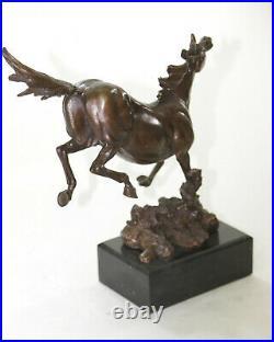 Horse Equestrian Mustang Artwork Bronze Marble Statue Sculpture Hand Made Decor