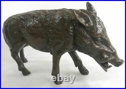Hot Cast Bronze Hand Made Sculpture of Wild Boar Hog Pig Statue Farm Decorative