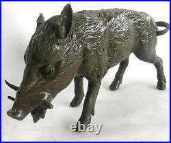 Hot Cast Bronze Hand Made Sculpture of Wild Boar Hog Pig Statue Figurine Farm