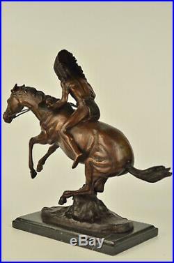 Hot Cast Hand Made Indian Warrior Bronze Museum Quality Bronze Statue Decorativ