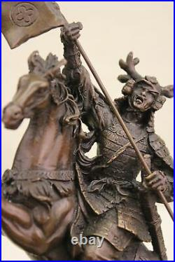 Japanese Samurai Warrior Bronze Statue Pagan Viking Hand Made Marble Base Figure