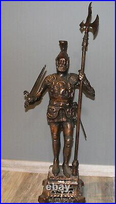 Large hand made bronze plated metal statue knight with halberd & sword signed