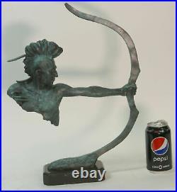 Lost Wax Method Hand Made Indian Archer Genuine Bronze Statue Figurine Home Deal