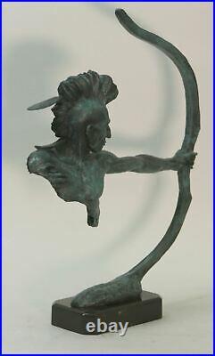 Lost Wax Method Hand Made Indian Archer Genuine Bronze Statue Figurine Home Deco