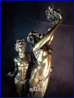 Made in Spain, Bronze Romantic Figures. 19.5 Tall. Exquisite Detail & Patina