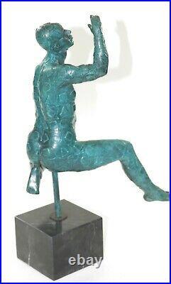 Male Sculpture Salvador Dali Hommage Geometric Bronze Hand Made Sculpture Statue