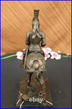 Medieval Knight on Horse Statue 100% Pure Hand Made Bronze Hot Cast Sculpture NR