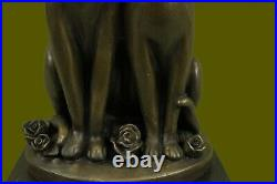 Miguel Lopez signed bronze cat sculpture statue art deco mid-century Hand Made
