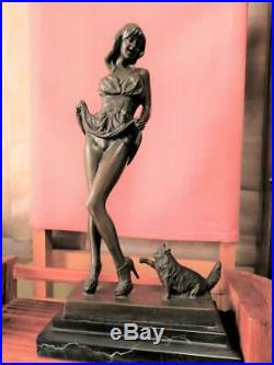 Modern girl and cat Bronze statue France made Rare product made of resin