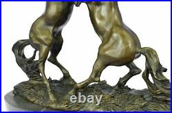 Museum Quality Cast Bronze European Made Large Statue Horses Fighting Sculpture