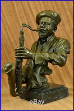 Musician Saxophone Player Male Hand Made Art Bronze Sculpture Statue Figure GIFT