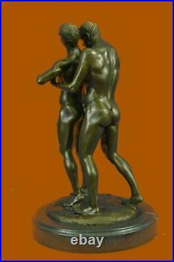 Nude Male Couple Bronze Statue Gay Interest Art Sculpture Hand Made Figurine Lrg