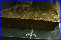 Pablo Picasso Famous Owl Bronze Sculpture Hand Made Marble Base Statue Figure