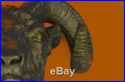 Rams Head Bust Bronze Sculpture For Wall Hand Made Statue Original Decor Art T