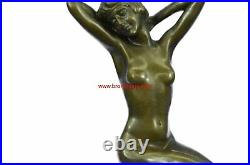 Rare Nude Girl Model Sitting On Chair Sculpture Statue Made By Lost Wax Method