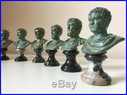 Roman Bust Statue of Julius Caesar (Green Bronze) Made in Europe (4.7in/12 cm)