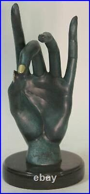 Salvador Dali Human Face Hand Made Bronze Sculpture Special Patina Statue Decor