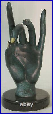 Salvador Dali Human Face Hand Made Bronze Sculpture Special Patina Statue Figure