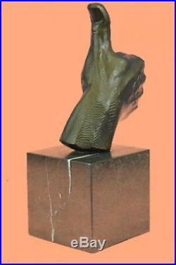 Sculpture Statue Hand Made Ok Sign Male Hand Made Lost Wax Method Deal Bronze