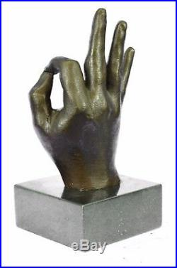 Sculpture Statue Hand Made Ok Sign Male Hand Made by Lost Wax Method Deal Bronze