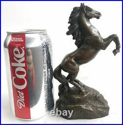 Signed Art Deco Rearing Horse Bronze Sculpture Hand Made Statue Decorativ Figure
