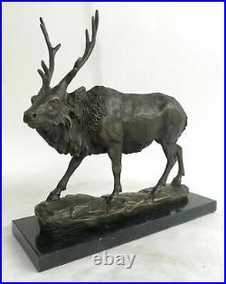 Signed Bronze Deers Statue Hunter Stags Elks Sculpture Hand Made Statue Figure