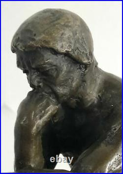 Signed Bronze Sculpture Nude Male French Rodin The Thinker Statue Hand Made Gift