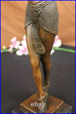Signed Bronze Sculpture Rare Art Deco Chiparus Statue On Marble Base Hand Made