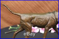Signed Caine Bronze Foxhound Dog Sculpture Statue Hand Made Marble Base Figurine