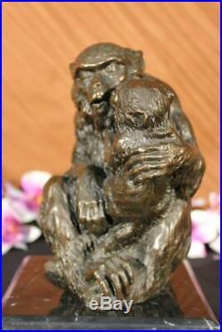 Signed Gorilla With Baby Monkey Animal Bronze Statue Art Deco Figure Hand Made LRG
