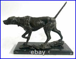 Signed Milo Bronze Foxhound Dog Sculpture Statue Hand Made Marble Base Figurine