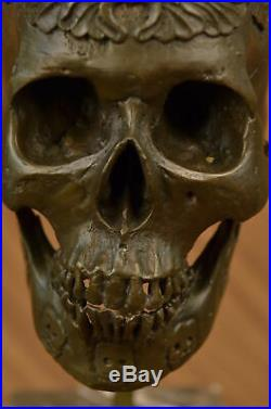 Signed Milo Bronze Statue Skull Skeleton thinker sculpture Made by Lost Wax ART