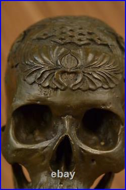 Signed Milo Bronze Statue Skull Skeleton thinker sculpture Made by Lost Wax LRG
